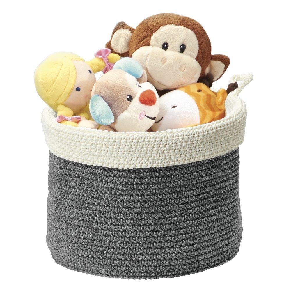 mDesign - Recipiente organizador tejido, para almacenamiento en armario del cuarto del bebé/la guardería; guarda peluches, juguetes, libros - chico - Gris/marfil MetroDecor 0199MDBEU