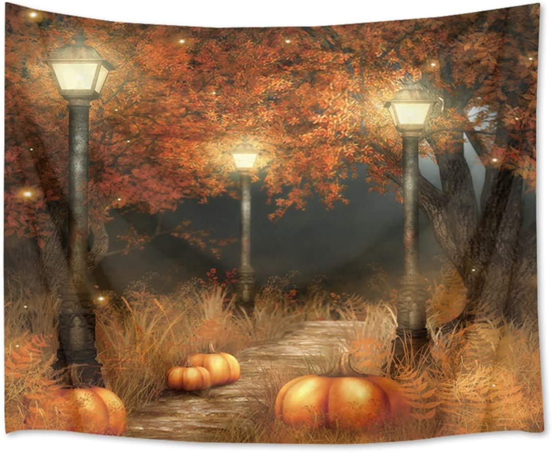 HVEST Fall Tapestry Thanksgiving Wall Tapestry Night Tapestry Wall Hangings Maple Trees and Pumpkins on The Footpath Wall Blanket for Bedroom Living Room Dorm Decor, 92.5Wx70.9H Inches