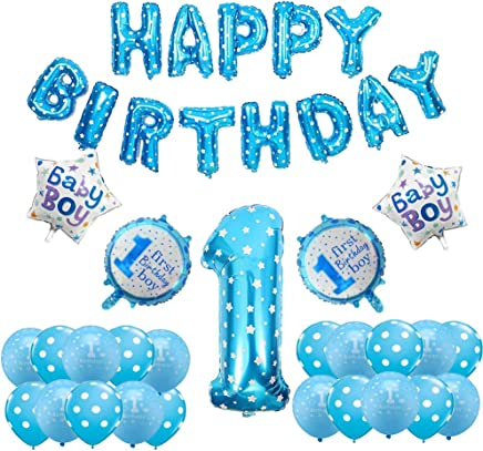 Yoart 1st Birthday Decorations for Boy Happy Birthday Banner Inflatable Helium Foil Balloons Birthday Party Decoration Supplies Blue