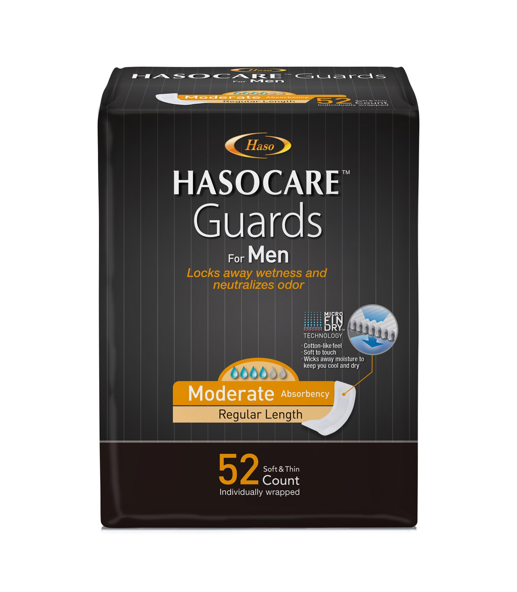 HASOCARE Incontinence Guards For Men, Moderate Absorbency , Regular Length, 52 Count