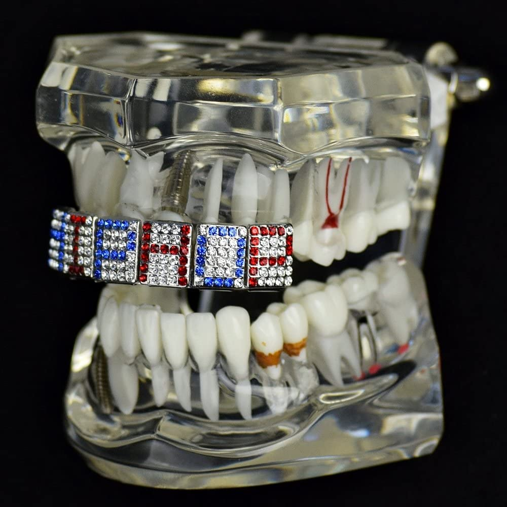 Custom Grillz Mixed Colors Red /& Blue Personalized Any Name 6 Letters Iced Mouth Jewelry Grills