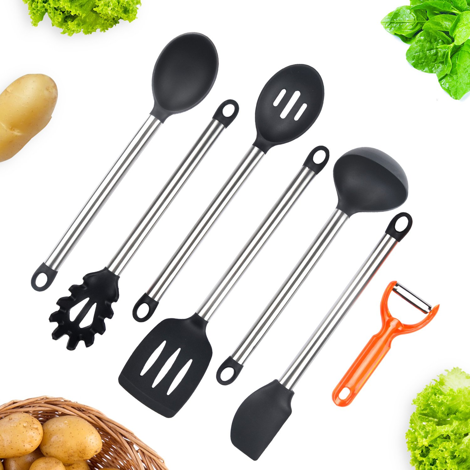 Wik Suang Silicone Kitchen Utensils 6 Pieces Stainless Steel Handle Cooking Utensils Set including Serving Spoon, Deep Ladle, Turner, Sloted Spoon, Spaghetti Server, Spatula, Plus Bonuns Peeler!