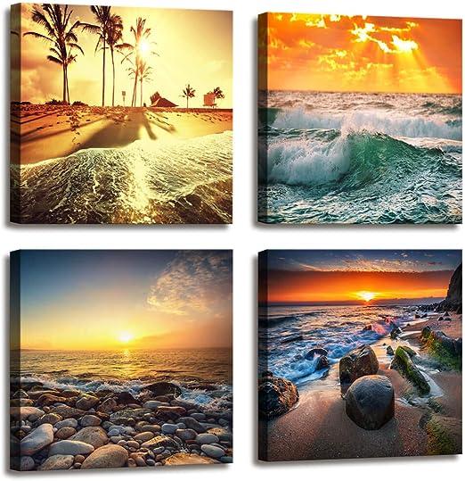 BLACK WHITE HORIZON SEA OCEAN Art Print Poster Relaxing Home Decor Nature Image