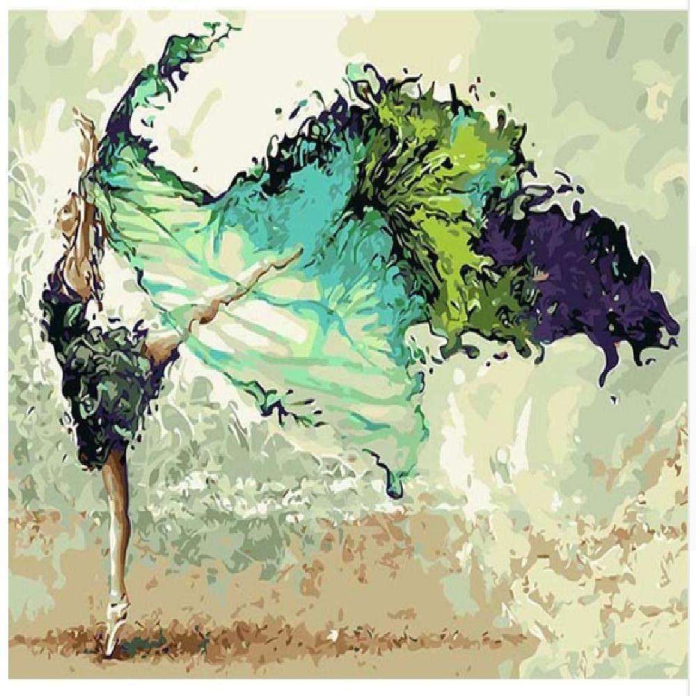 60x75cm  jjyyh Peintures par Numéros Fille Verte 100X180Cm Bricolage Peinture à l'huile Linen Toile pour Adultes Les Enfants Débutants des Gamins' Jouet Numéros Peinture par Décoration Murale