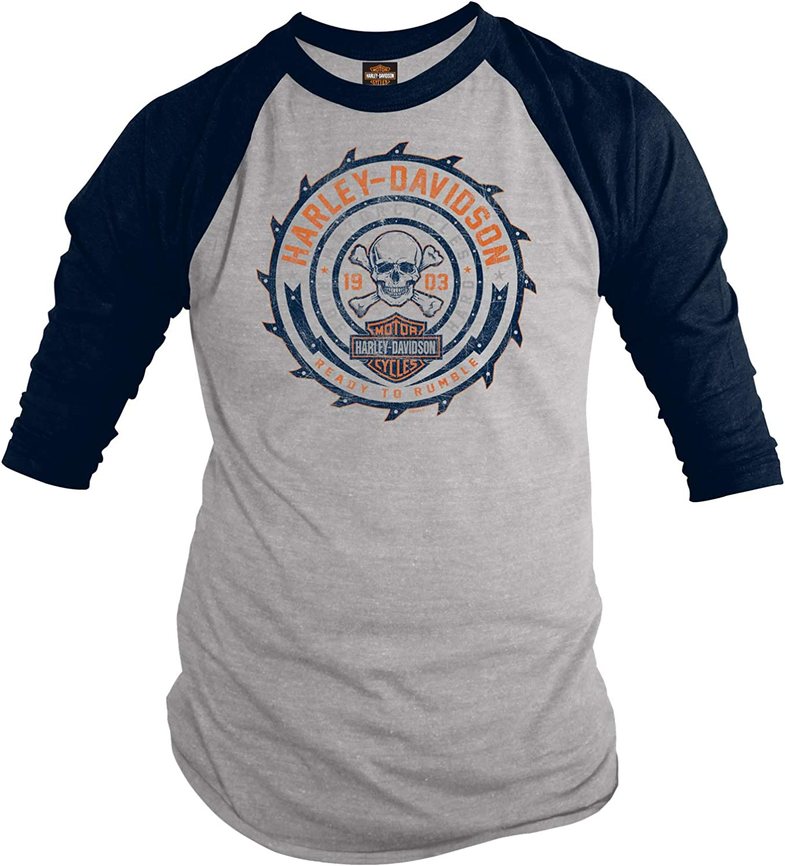 Harley-Davidson Military - Camiseta de manga 3/4 para hombre - NAS Sigonella | Listo para Rumble - Gris - 3X-Large: Amazon.es: Ropa y accesorios