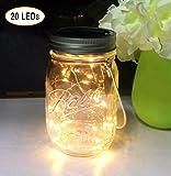 Aubasic Solar Mason Jar Lights, 20 Leds Waterproof Fairy Firefly String Lights Build-in Glass Mason Jar, Best Patio Yard Desktop Party Decor Solar Lantern Warm White (1 Pack-Mason Jar Included)