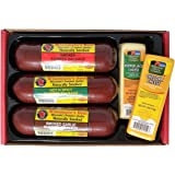 Wisconsin's Best & Wisconsin Cheese Company, Premium Sampler Gift | 100% Wisconsin Cheddar Cheese | Original, Garlic, Spicy Sausage | Birthday | Thank you | Gift | Father's Day Favorite