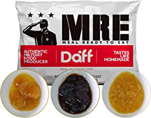 MRE Meals Military Style by DAFF. Breakfast Pack (1 Peach, 1 Apricot, 1 Plum) (3 Single Meals). Full MRE Meal Ideal for Camping, Hiking, Survival, Prepping and as Emergency Food. [1000 Calories/Bag]