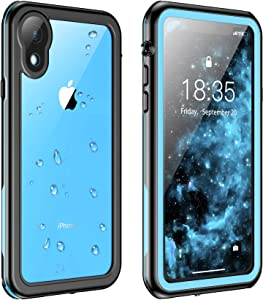 Justcool for iPhone XR Case Waterproof, Full Body with Built-in Screen Protector Rugged Clear Case for iPhone XR 6.1 inch (Blue/Clear)