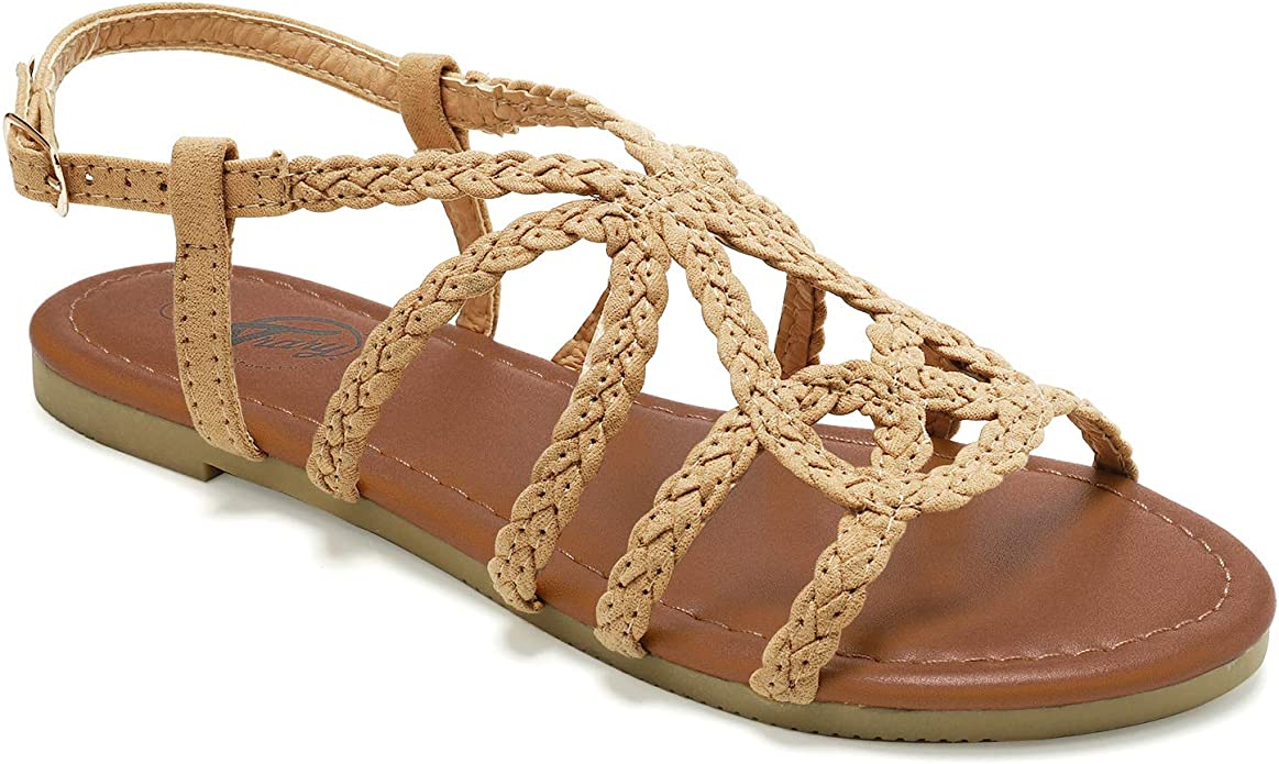 70s Shoes, Platforms, Boots, Heels | 1970s Shoes Trary Braided Strap Open Toe Summer Flat Sandals for Women $12.32 AT vintagedancer.com