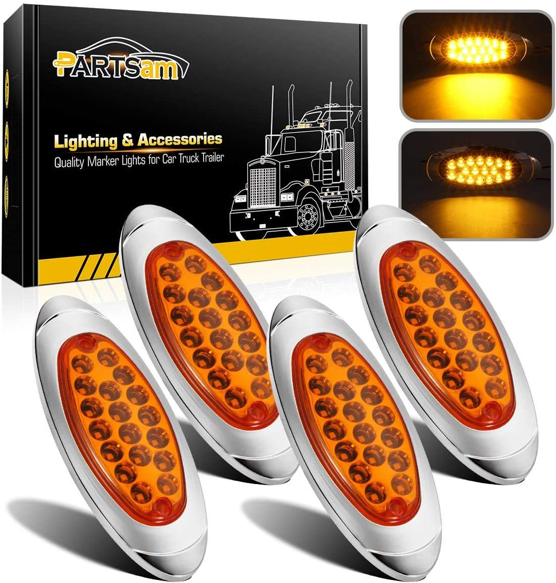 Oval Reflective Amber LED Marker Light Replacement for Peterbilt//Kenworth Truck Trailers Partsam 10Pcs Amber Flat 6-1//5 Peterbilt-Style Led Marker Lights 12LED w Reflex Lens Surface Mount