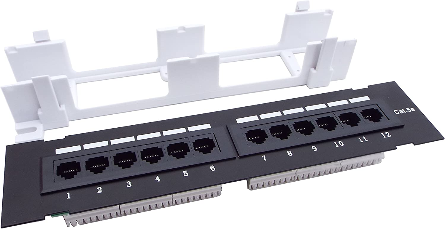 CNAweb 12 Port UL Listed Vertical Cat5e 110 RJ45 Patch Panel 568A 568B with Bracket