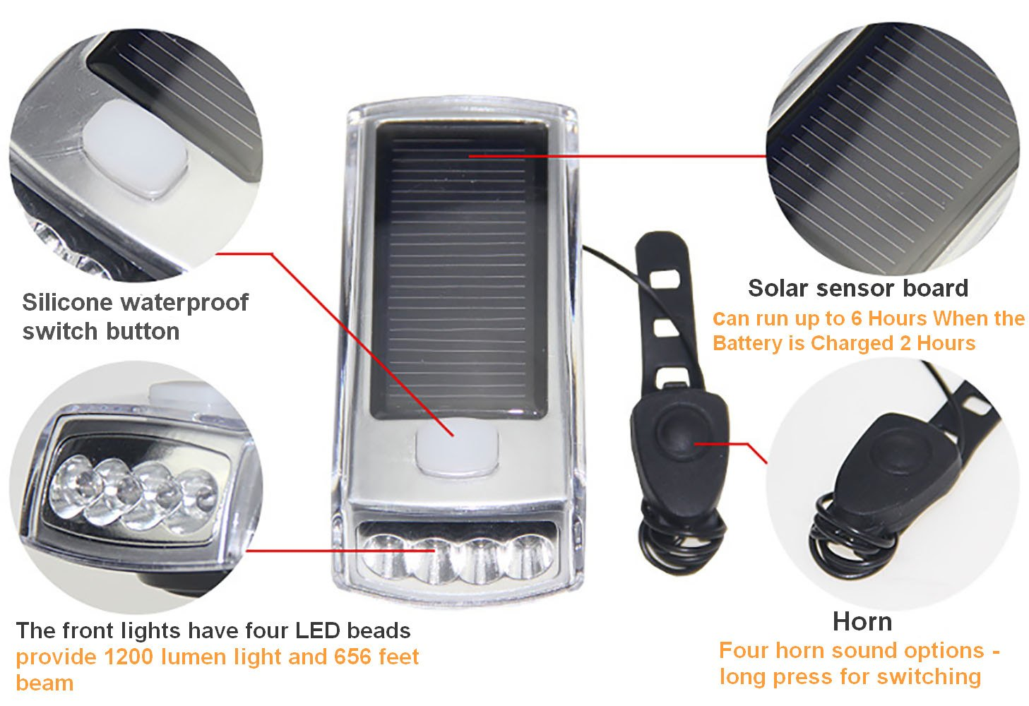 Ultra Bright Bicycle Lights Set - Front Headlights & Horn & Back Taillights, Two(Solar and USB)-in-One Rechargeable LED Bike Front Lights, Waterproof & Safety Road, 1200mAH/1200 Lumens Head Lights. by Juxical (Image #2)