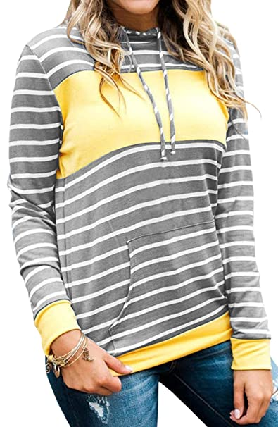 ECOWISH Damen Gestreift Pulli Hoodies Pullover Langarm Sweatshirt  Kapuzenpulli Top Jacke  Amazon.de  Bekleidung 517f19bb5e