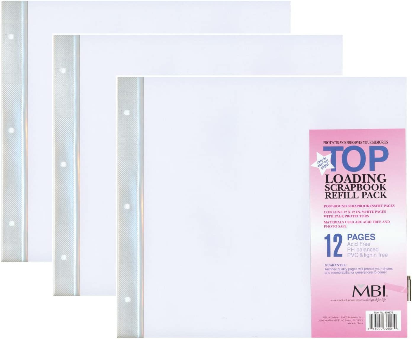 MBI by MCS 12-Inch by 12-Inch Scrapbook Expansion Pages 3-PACK 6 sheet Count 12 pages