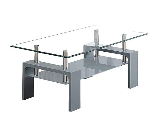 COSMO Moderno Estante Inferior de Cristal Transparente y Gris con ...