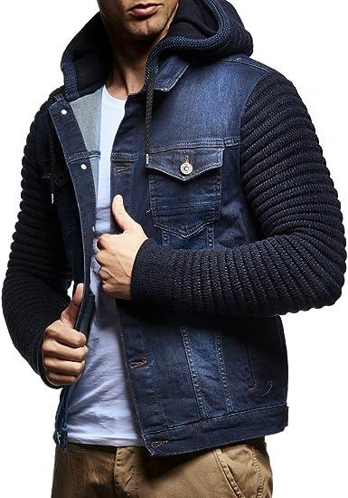 LEIF NELSON pour des Hommes Veste Hoodie Cardigan Pull à Capuche Vintage Veste en Jean Sweat Corde Jeans LN5240