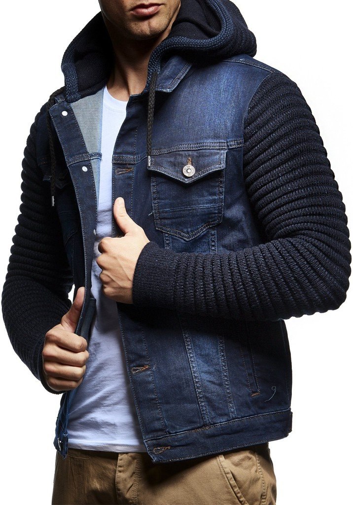 Leif Nelson LN5240 Men's Casual Denim Jacket with Knitted Sleeves; Size L, Blue by Leif Nelson