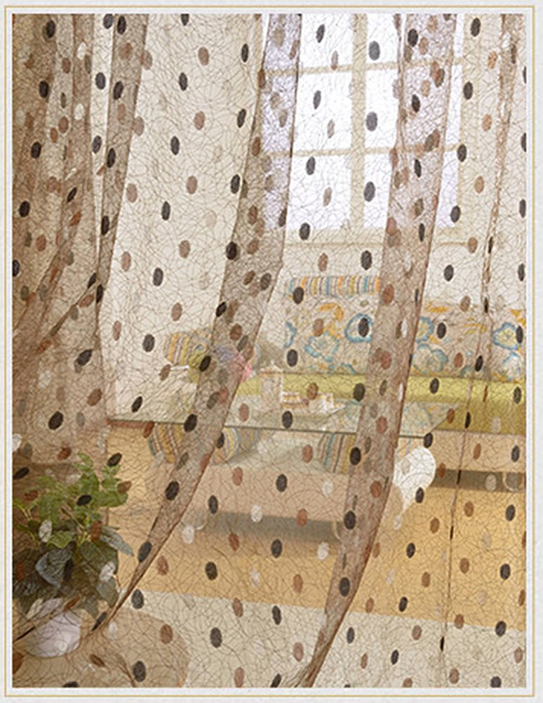 Aside Bside Rod Pocket Top Sheer Curtains Leisure Style Bird Nest Knitting Permeable Window Decoration For Sitting Room Kitchen and Houseroom (1 Panel, W 52 x L 104 inch, Coffee)
