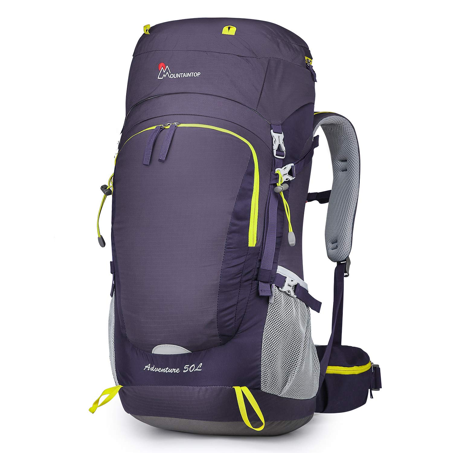 MOUNTAINTOP 50L/60L Hiking Backpack with Rain Cover (50L-Purple) by MOUNTAINTOP