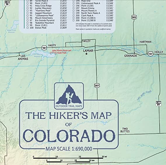 Clark Colorado Map.Amazon Com The Hiker S Map Of Colorado Wall Poster Map By