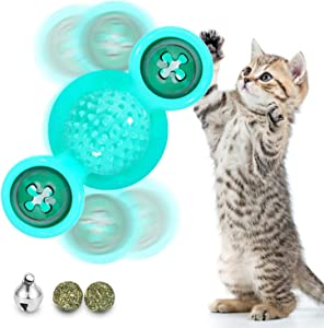 Bell Ball Cat Toy, Funny Interactive Pets Pillow Chew Bite Kick Supplies Catnip Toys Perfect for Cat/Kitty/Kitten Hair Brush Turntable Massage Scratching Tickle Toy with Suction Cup
