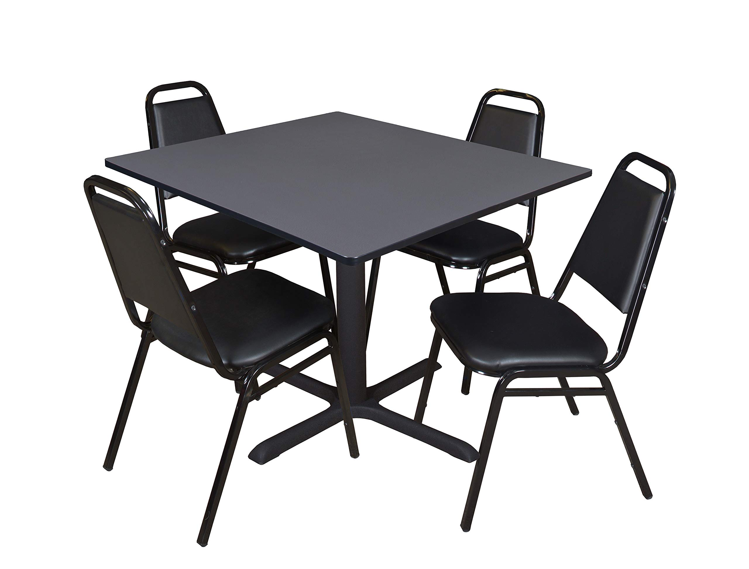 Cain 48'' Square Breakroom Table- Grey & 4 Restaurant Stack Chairs- Black by Regency Seating