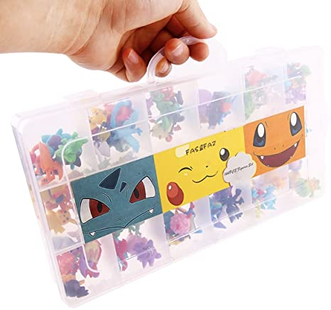 Fasu0026Faz 144 Pcs Pokemon Mini Action Figures Toys In A Storage Case  (Birthday Gifts Toy