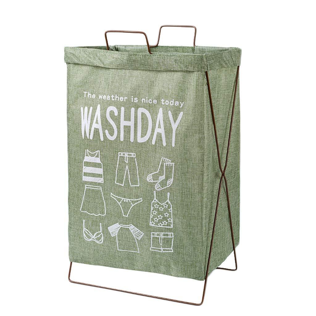 Lagerung FJH Wäschekorb Baumwolle Sackleinen Faltbare Schmutzige Hamper Haushaltskleidung Kleinigkeiten Ablagekorb Grün