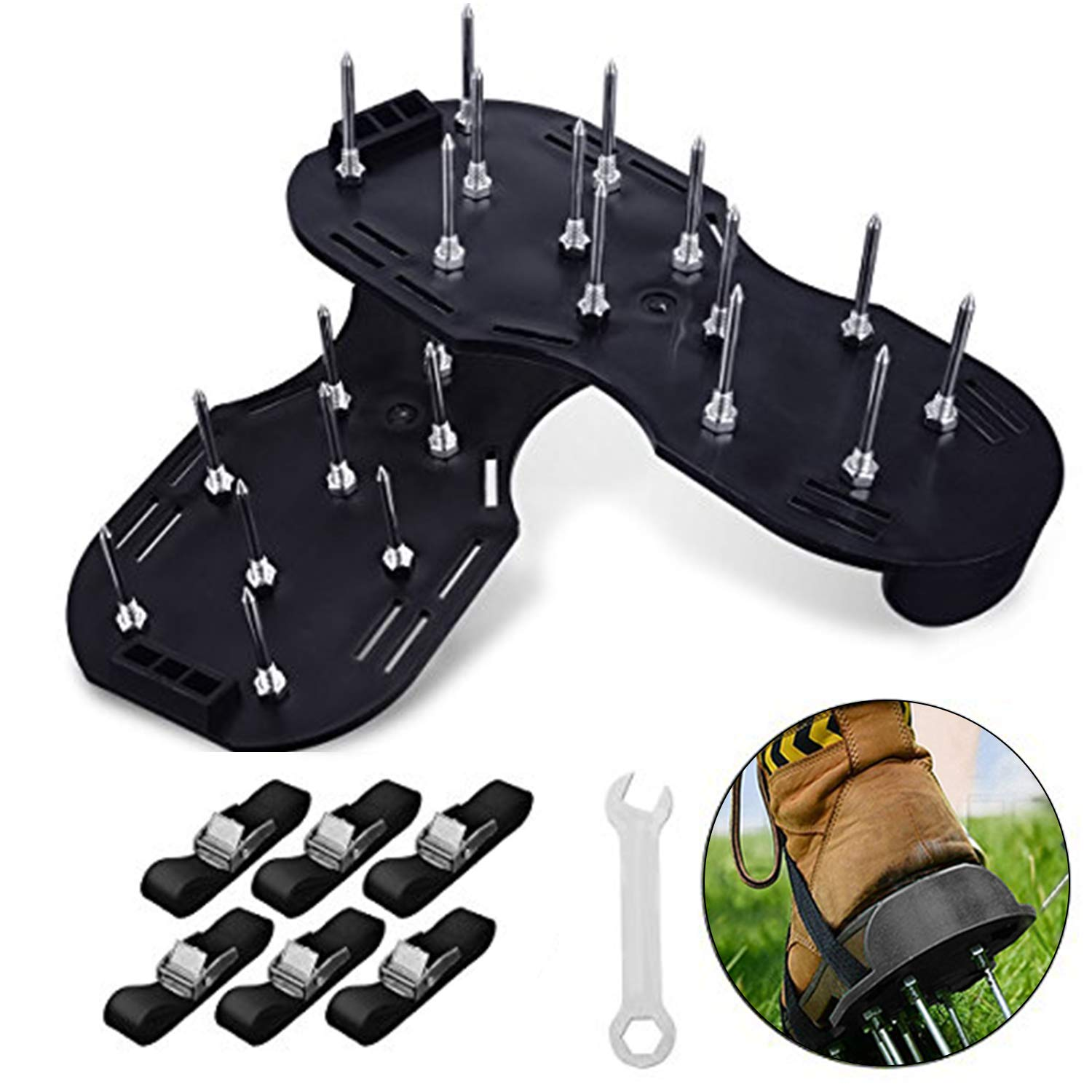 GoTravel2 Lawn Aerator Shoes, Heavy Duty Spiked Sandals for Aerating Lawns, 3 Zinc Alloy Buckles and 3 Straps, Spikes and Wrench, Manual Lawn Aerator Saddles for Aerating Your Lawn or Yard (Black)