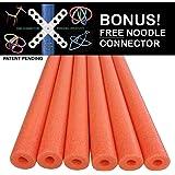Oodles of Noodles Foam Pool Swim Noodles with Connector, 6-Pack, 52-Inch, Orange, Bulk Pack