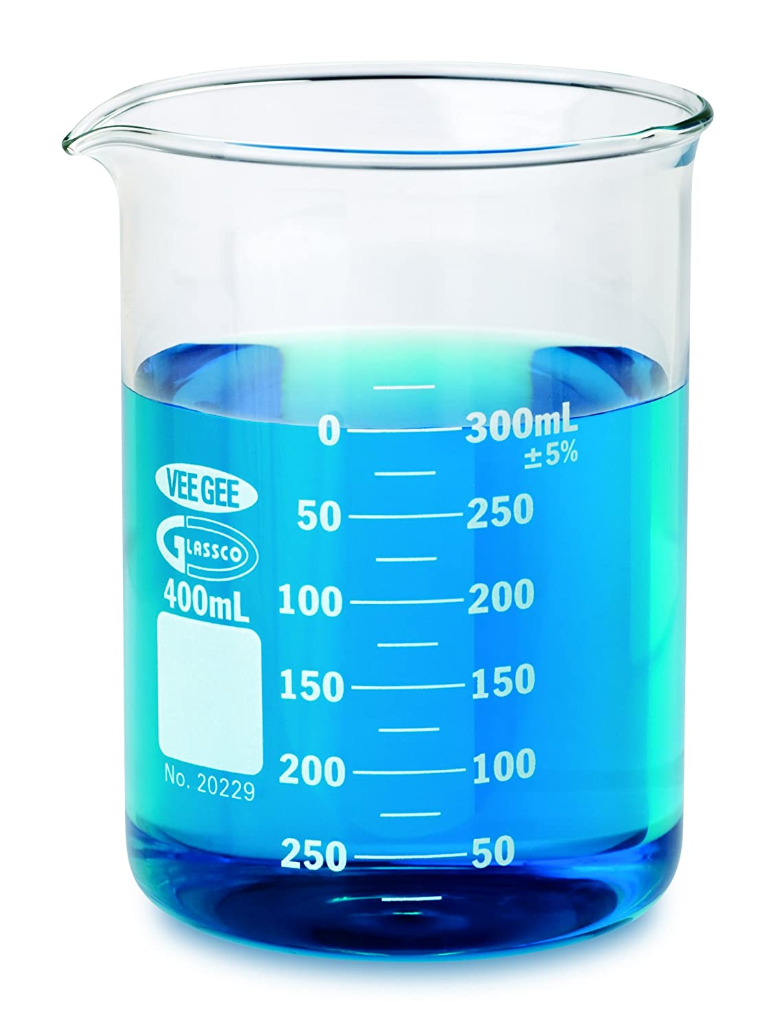 Vee Gee Scientific 20229-250 Borosilicate Glass Griffin 250 mL Low Form Beaker (Pack of 12)