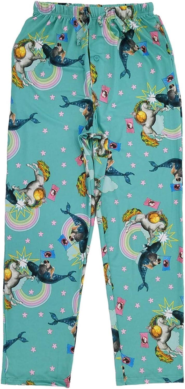 Mens Rainbow Cat Unicorn Pug Whale Battle Sleep Pants Pajama Bottoms
