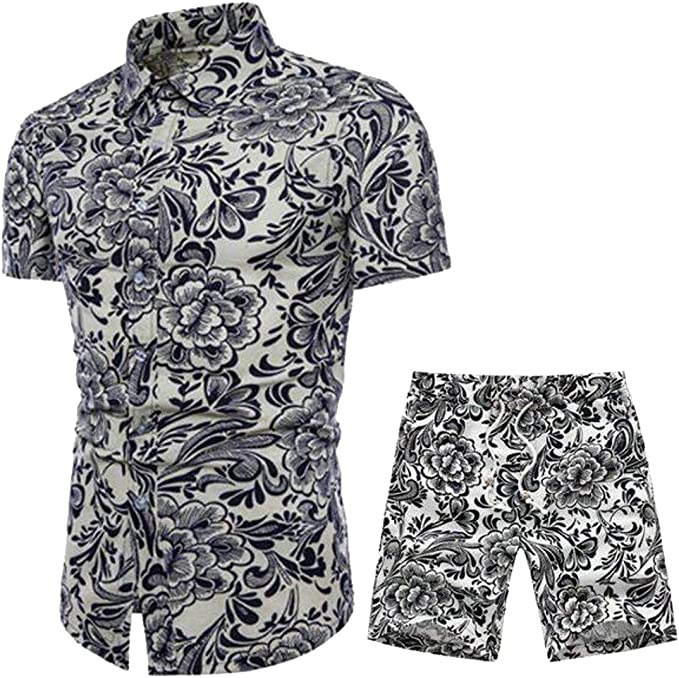 Fubotevic Mens Linen T Shirts Plus Size Casual Solid Color 2 Pcs Outfits Shorts Tracksuit
