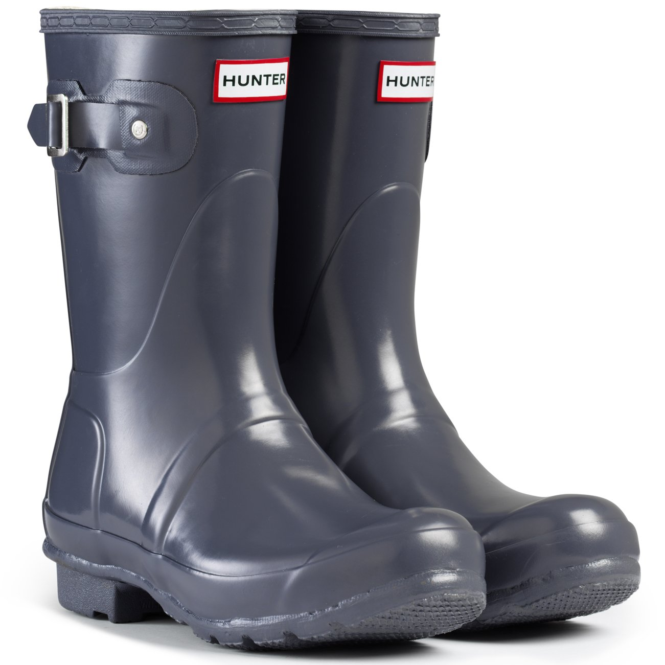 Hunter Women's Boots Original Short Gloss Snow Rain Boots Water Boots Unisex - Black - 8 B00IHW5MHE 5 M US|Graphite