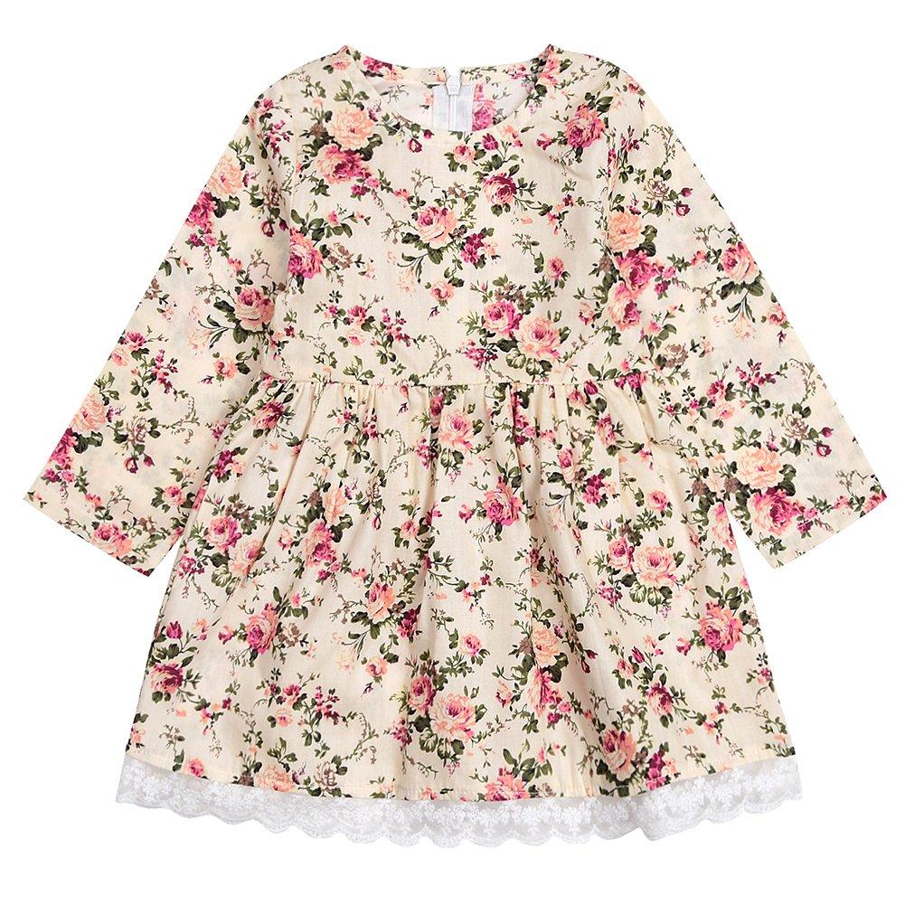 SCFEL Kinder Baby Mädchen Floral Lace Langarm Prinzessin Kleid Outfits