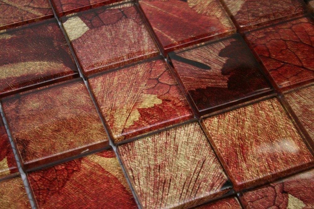 Summer 2 X 2 Red Gold Brown Glass Tile Glass Tile Backsplash Amazon Com