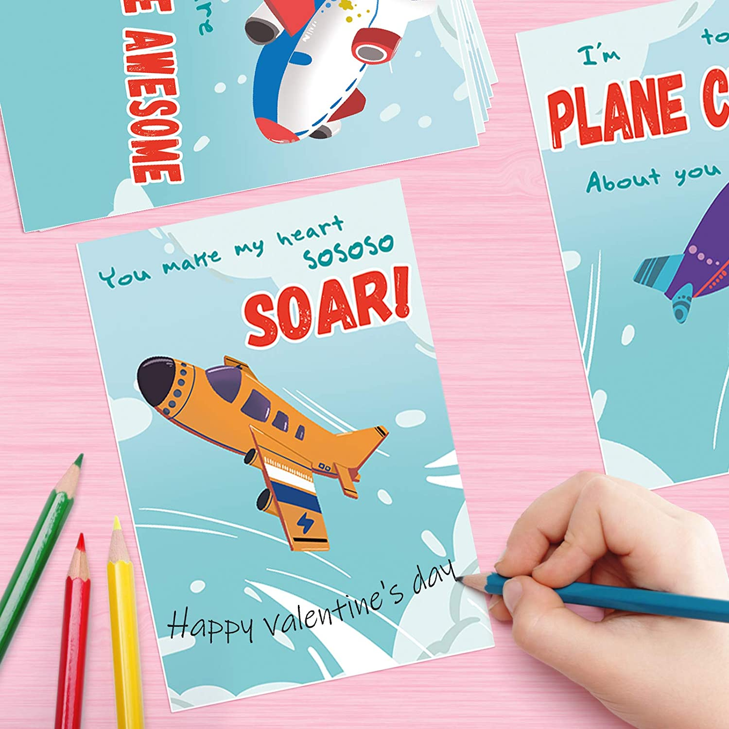 SpringFlower 28 Pack Valentines Greeting Cards with Foam Airplanes for Kids Exchanging Gifts Valentine/'s Fun Party Favors toys School Classroom Prizes