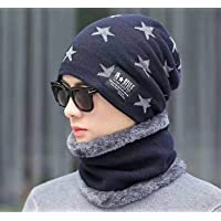 Wersoa™ Upgraded Star Quality 2 Pieces Set Winter Beanie Cap Neck Scarf Set Warm Knitted Fur Inside For Men & Women (Blue)