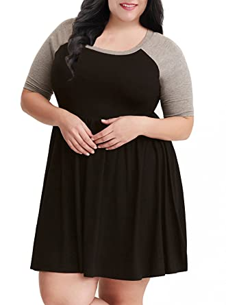Nemidor Womens A Line Raglan Sleeves Plus Size Black Casual Skater