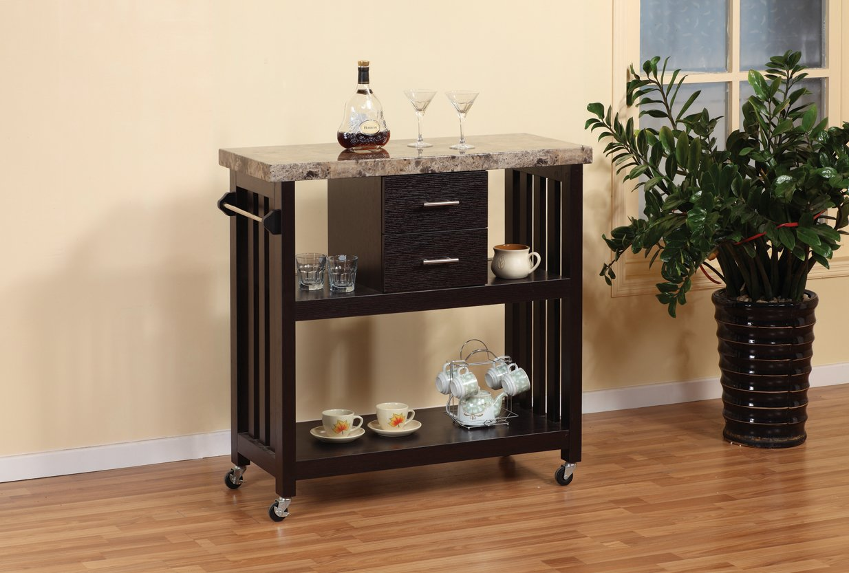 Smart home 12579 Faux Marble Top Kitchen Cart
