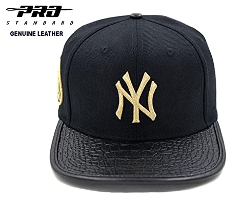 2e345462f2191 Amazon.com : PRO-STANDARD NY Yankees Official MLB Fashion Black/Metallic  Gold 3M Side Patch Premium Leather Cap : Sports & Outdoors