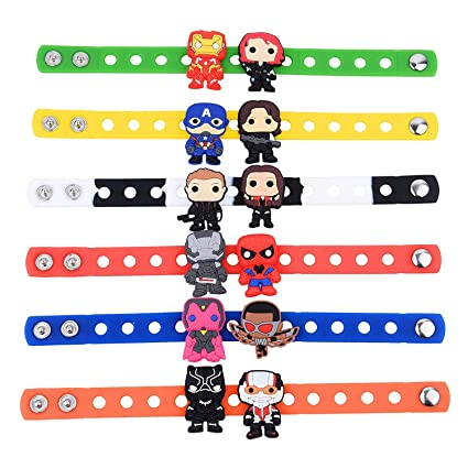 Amazon.com: Thinkin Toys 6pcs Superhero Pulseras + 12 Charms ...