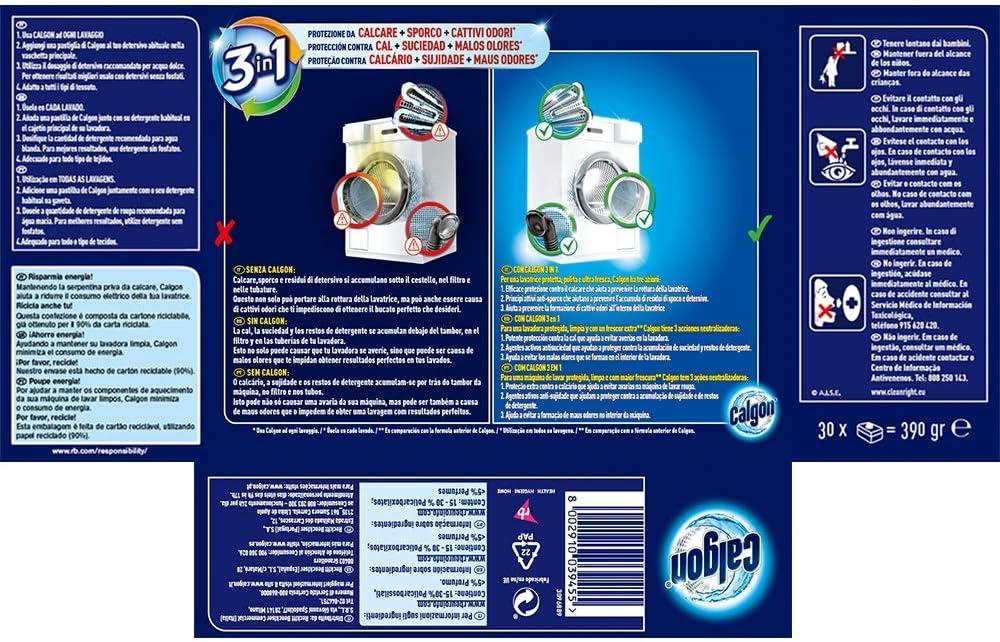 Calgon Antical Pastillas - 30 unidades: Amazon.es: Salud y cuidado ...