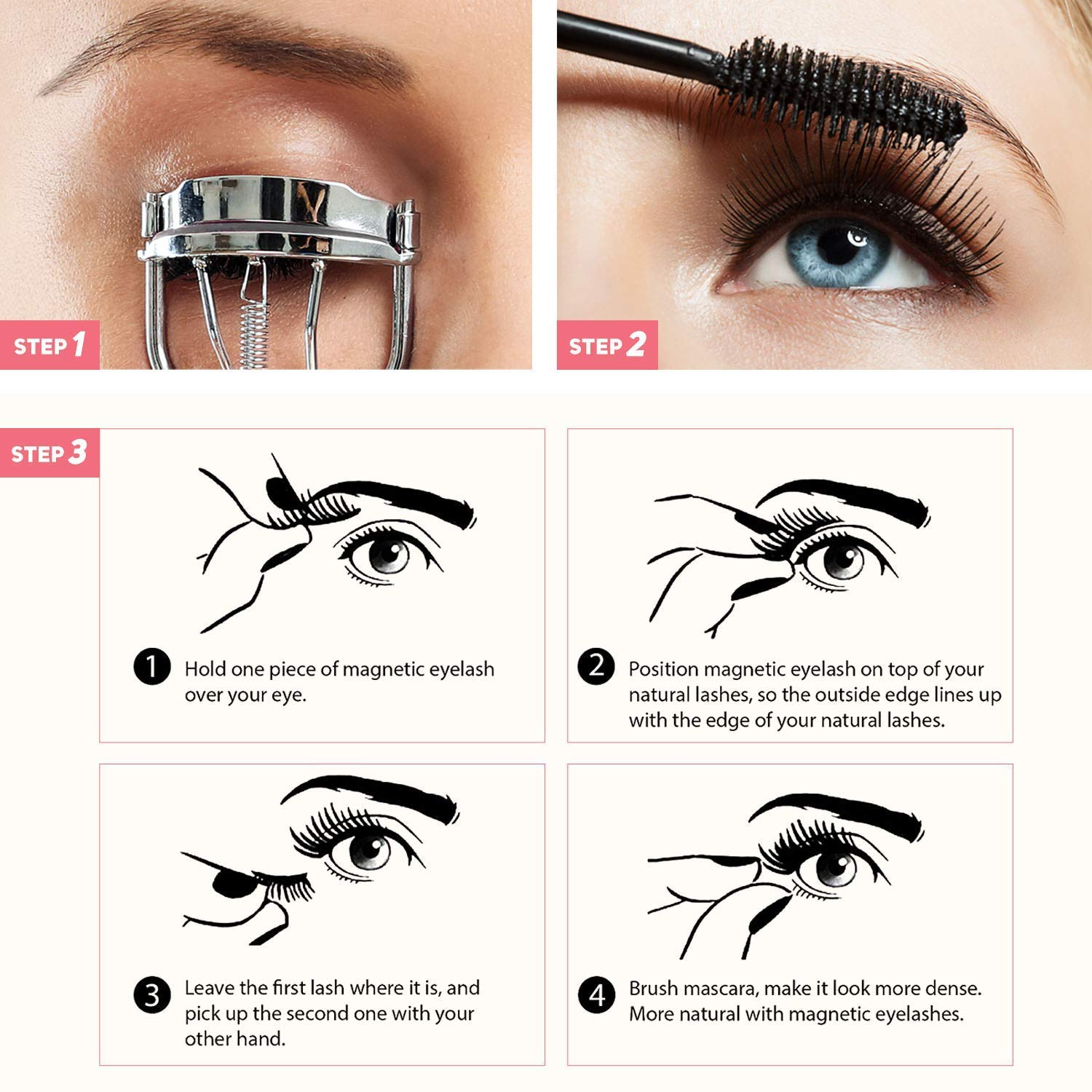 Natural Look 1 pack 4pcs Reusable and Easy to Apply Ultra Thin Magnets Dual Magnetic False Eyelashes Fake Lashes with Tweezer Half-Lash