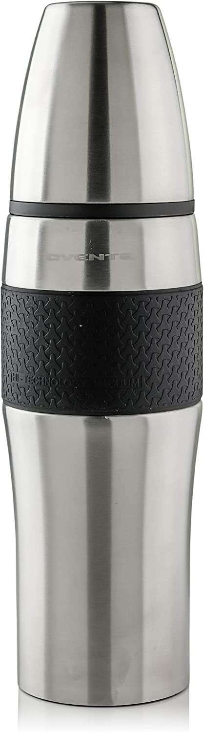 Ovente Stainless Steel Travel Mug 34 Ounce with Removable Cup Double Wall Vacuum Insulated with Hot and Cool Thermos, BPA-Free Leak and Spill Proof, Anti Slip Rubber Base, Silver (TSA34S)