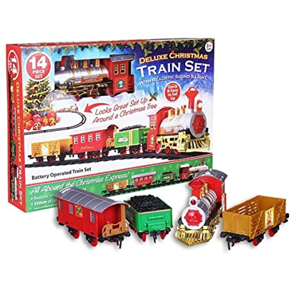 deluxe christmas tree train set with realistic sound by e bargains uk - Around The Christmas Tree Train Set