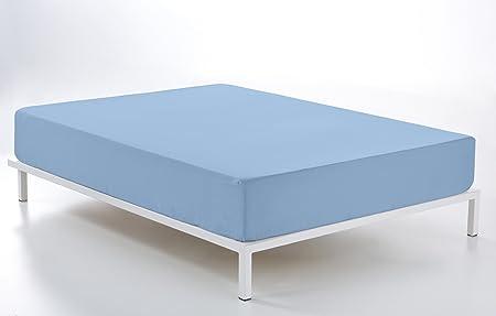 ESTELA - Sábana Bajera Ajustable Combi Color Azul Celeste - Cama de 90 cm. - 50% Algodón / 50% Poliéster - 144 Hilos: Amazon.es: Hogar