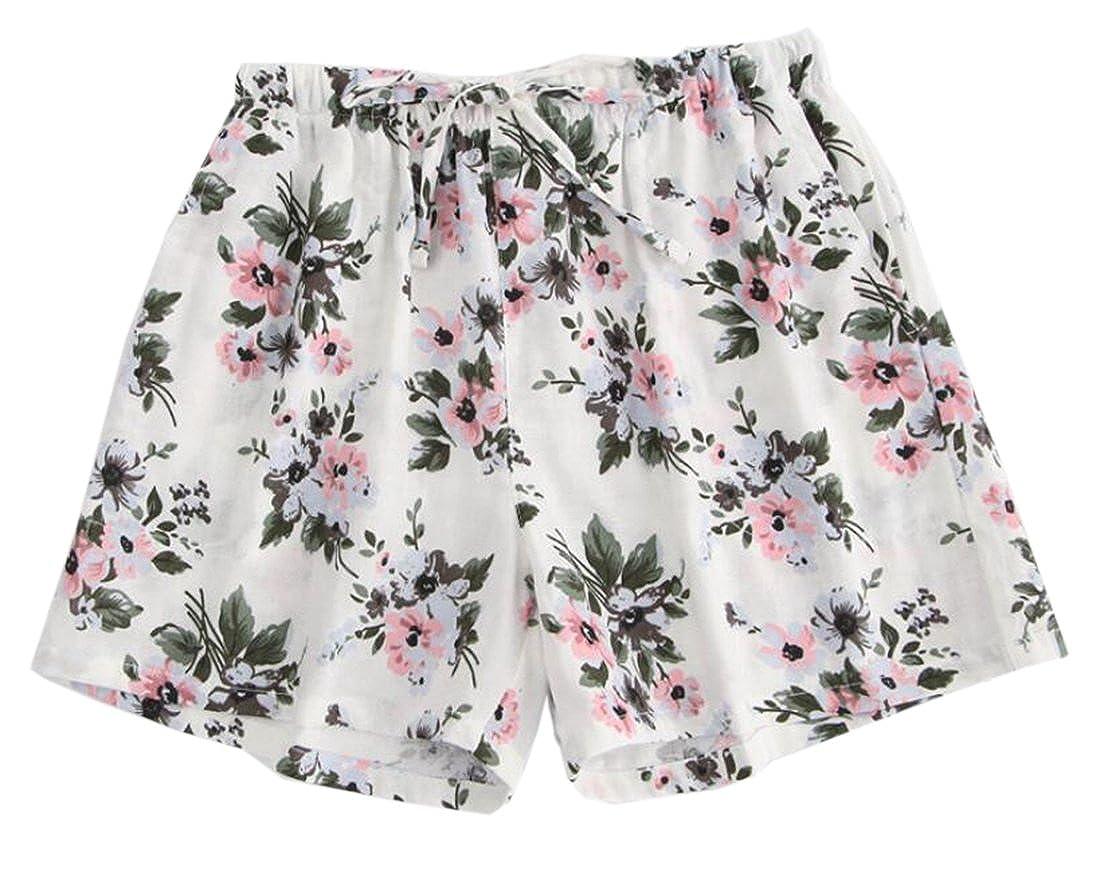 7610fe300a0 KLJR-Women Casual Cotton Plus Size Elastic Waist Lounge Pajama Sleep Shorts  at Amazon Women s Clothing store