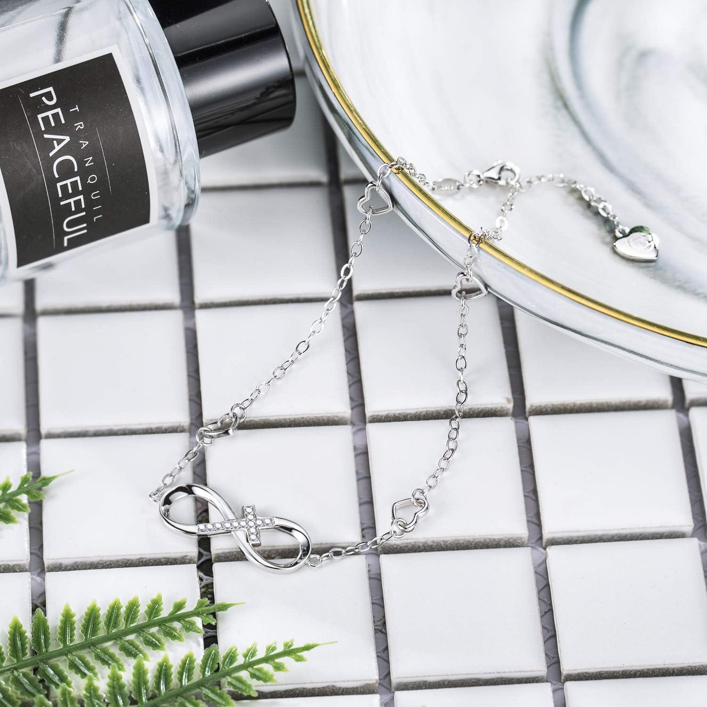BlingGem Bracelets de Cheville pour Femme Infini Croix Bracelet Argent 925//1000 avec Oxyde de Zirconium Rond Bracelet Pied Fille Cadeau pour la f/ête des m/ères